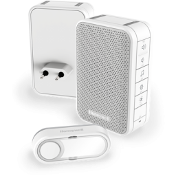 Draadloze draagbare en plug-in deurbel met volumeregeling en drukknop – Wit
