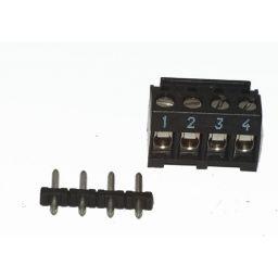 Connector kroonsteen vrouwelijk - 4-polig met recht printdeel