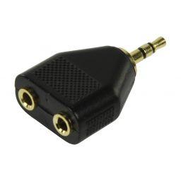 3,5mm stereo jack mannelijk  2x 3,5mm stereo jack vrouwelijk - Plastic GOLD