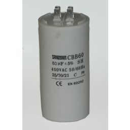 Motor run capacitor 80 µF 57x130mm 450Vac 5%  85°C