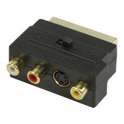 Schakelbare SCART AV adapter SCART mannelijk - 3x RCA vrouwelijk + S-Video vrouwelijk zwart