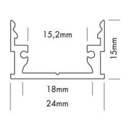 Alu profiel 24x15mm voor ledstrips tot 15mm