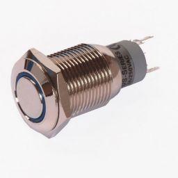 Enkelpolige drukknop ON-(ON) 1A/24VDC 0,5A/230VAC blauw