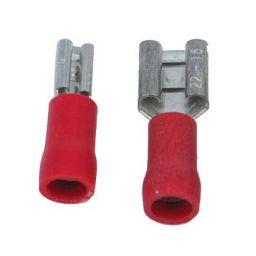 Opschuifcontact vrouwelijk 6,3x0,8mm Rood - 10 stuks