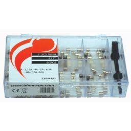 Assortiment zekeringen - 5x20mm snel - 2,5A tot 16A - 80pcs