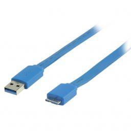Platte USB 3.0 A mannelijk naar USB 3.0 micro B mannelijk kabel 2,00 m blauw