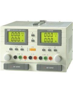 Labovoeding met 2 LCD displays 2x(0-30V), 2x(0-5A), 5V-3A