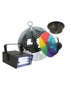 Discolichtkit met PAR36 puntspot, kleurwiel (5 kleuren), spiegelbol Ø 20cm met motor en led-stroboscoop