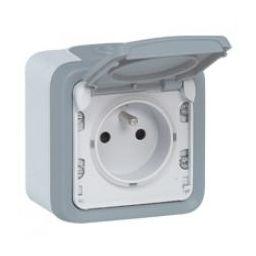 Stopcontact met beschermkap IP55 - Grijs - Legrand