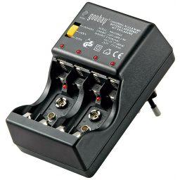 Plug-in batterijlader voor 4xAAA of 4xAA of 2x9Vblok