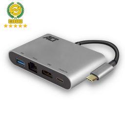 USB-C 4K multiport adapter met HDMI, USB-A, LAN, USB-C met PD Pass-through 60W