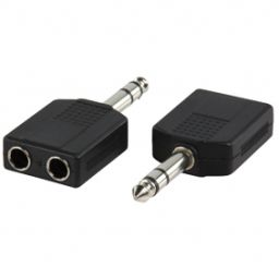 6,3mm stereo jack mannelijk  2x 6,3mm stereo jack vrouwelijk - Plastic