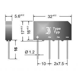 Bruggelijkrichter: 80V 5Amax afm: 32x17x5,5mm