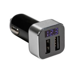 XM018 - USB-lader voor de auto - 2x USB-aansluiting + display (5Vdc - 2.1 A) - 10 W max.
