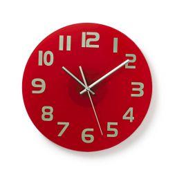 Ronde wandklok -  Diameter 30 cm -  Eenvoudig te lezen cijfers - Helder-rood