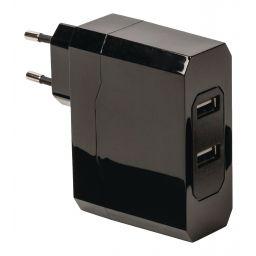 Lader met 2 uitgangen - 2 x 2,4A - USB - Zwart