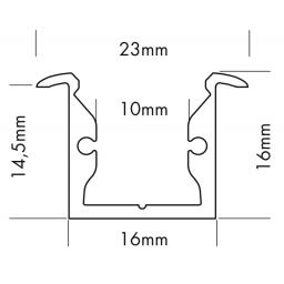Alu Profiel S4 16x16mm voor ledstrips tot 10mm