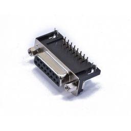 SUB-D connector - 15-polig - Vrouwelijk - Printmontage - Haaks - HQ