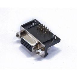SUB-D connector HD - 15-polig / 3 rijen - Vrouwelijk - Printmontage - Haaks - HQ