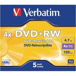 DVD+RW - 4,7GB - 5 stuks