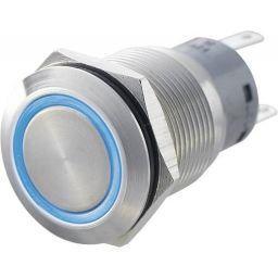 INOX Drukknop enkelpolig blauw 5A/250VAC IP65 - ON-(ON)