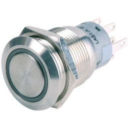 INOX Drukknop enkelpolig wit 5A/250VAC IP65 - ON-(ON)
