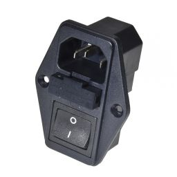 Mannelijk Chassis IEC 10A-250V met schakelaar en zekering