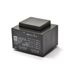 Printtransformator 16VA 2x(0-6-8)V