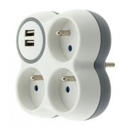3-voudig stopcontact 3x16A met 2-poort USB