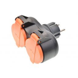 Stekker 2 stopcontacten IP44 met deksel
