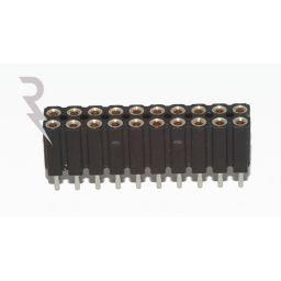 Rechte IC connectorrij 2x10 pin - Met tulpcontacten - Mannelijk  - P2,54 - Afbreekbaar