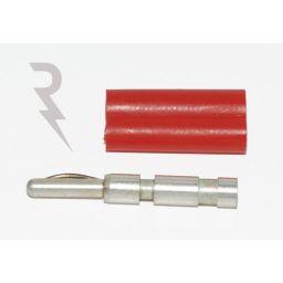 Banaanstekker - 2mm - Rood - Stapelbaar  Voor op kabel - Te solderen