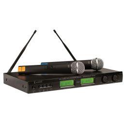 Draadloos microfoonsysteem met twee microfoons en informatiedisplay
