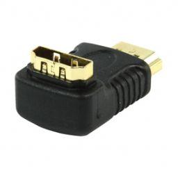 Overgang HDMI mannelijk  HDMI vrouwelijk - 90° - Verguld