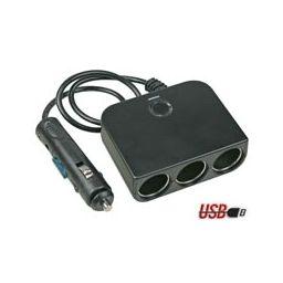 3-WEG Sigarenaanstekerplug - 12 V - met USB-uitgang