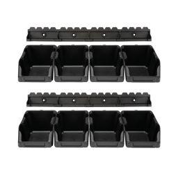 Set magazijnbakken - 8 st. - 103 x 165 x 75 mm - zwart