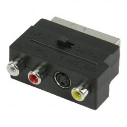 Scart plug  3 x RCA sockets (audio/video) + S-VHS + schakelaar