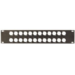 Rack panel 2 unit voor 24 x XLR, Speakon, etc. |Dikte: 1,2 mm |Zwart