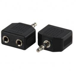 3,5mm stereo jack mannelijk  2x 3,5mm stereo jack vrouwelijk - Plastic