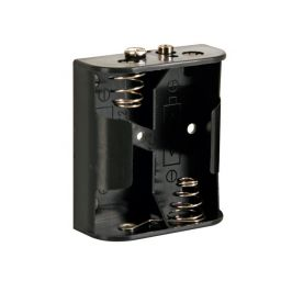Batterijhouder voor 2 x C-cel - met batterijclips-aansluitingen.