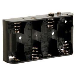 Batterijhouder voor 4 x C-cel - met batterijclips-aansluitingen.
