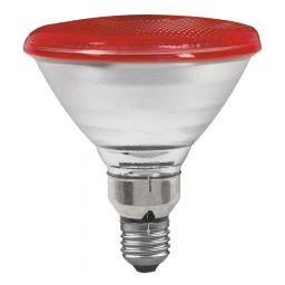 E27 -socket - PAR38- 80W - 230V lamp - d=122mm / l=136mm - Rood - 30°