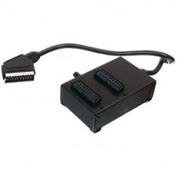 Schakelbare SCART connectiebox SCART mannelijk - 2x SCART vrouwelijk 0,50 m zwart