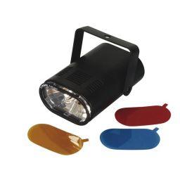 Mini stroboscoop 25W met 3 verwisselbare kleurfilters