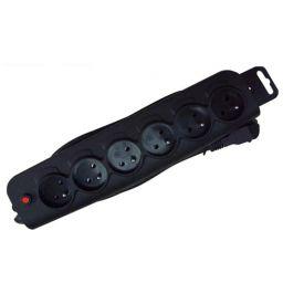 6-voudig stopcontact en snoer 6 x 10/16A met aarding - zwart