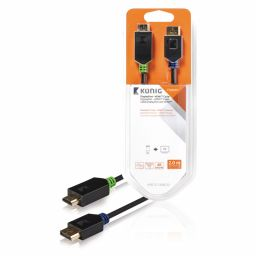 DisplayPortkabel: DisplayPort Mannelijk - HDMI-Connector - 2 meter - Antraciet