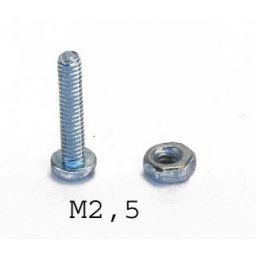 Bout M2,5 - Lengte: 20mm - 100 stuks - metaalschroef met cilindrische kop