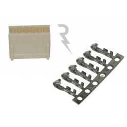 Draadconnector 6p met krimpcontacten 2,54mm