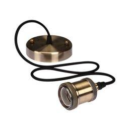 Retro lamphouder 6GTR4 met textielkabel - bronskleurig