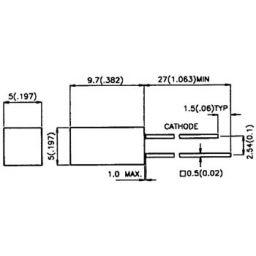 Vierkante LED 5x5mm groen diffuus